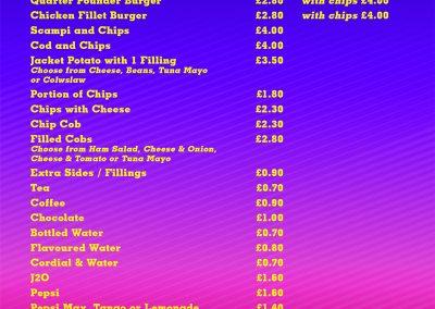 Bar and Diner Pricelist